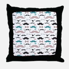 Mustache Pattern Throw Pillow