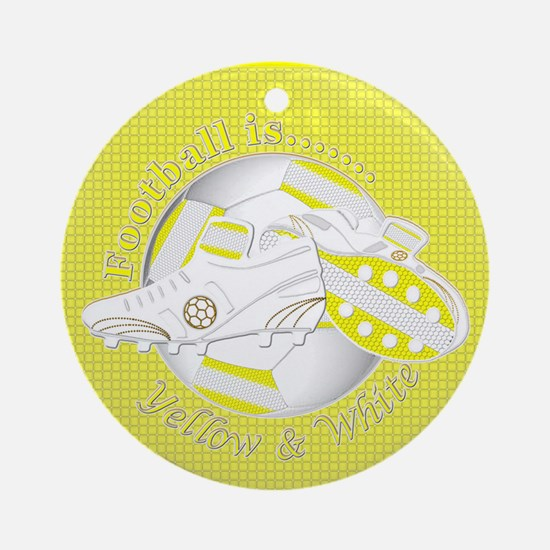 Yellow and White Football Soccer Round Ornament