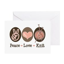 Peace Love Knit Knitting Greeting Card