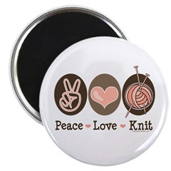 "Peace Love Knit Knitting 2.25"" Magnet (10 pack)"