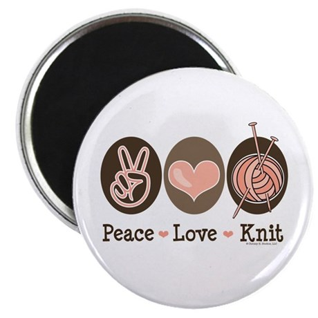 """Peace Love Knit Knitting 2.25"""" Magnet (10 pack)"""