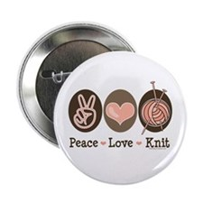 """Peace Love Knit Knitting 2.25"""" Button (10 pack)"""