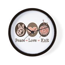 Peace Love Knit Knitting Wall Clock