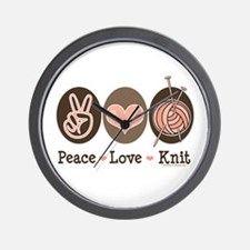 Peace Love Knit Knitting Wall Clock