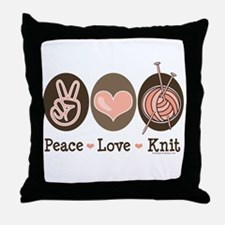 Peace Love Knit Knitting Throw Pillow