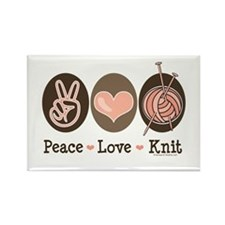Peace Love Knit Knitting Rectangle Magnet