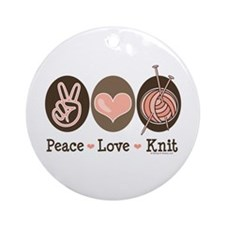Peace Love Knit Knitting Ornament (Round)