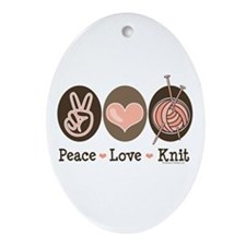 Peace Love Knit Knitting Oval Ornament