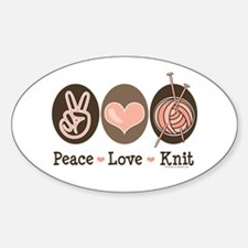 Peace Love Knit Knitting Oval Decal