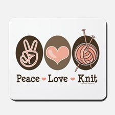 Peace Love Knit Knitting Mousepad