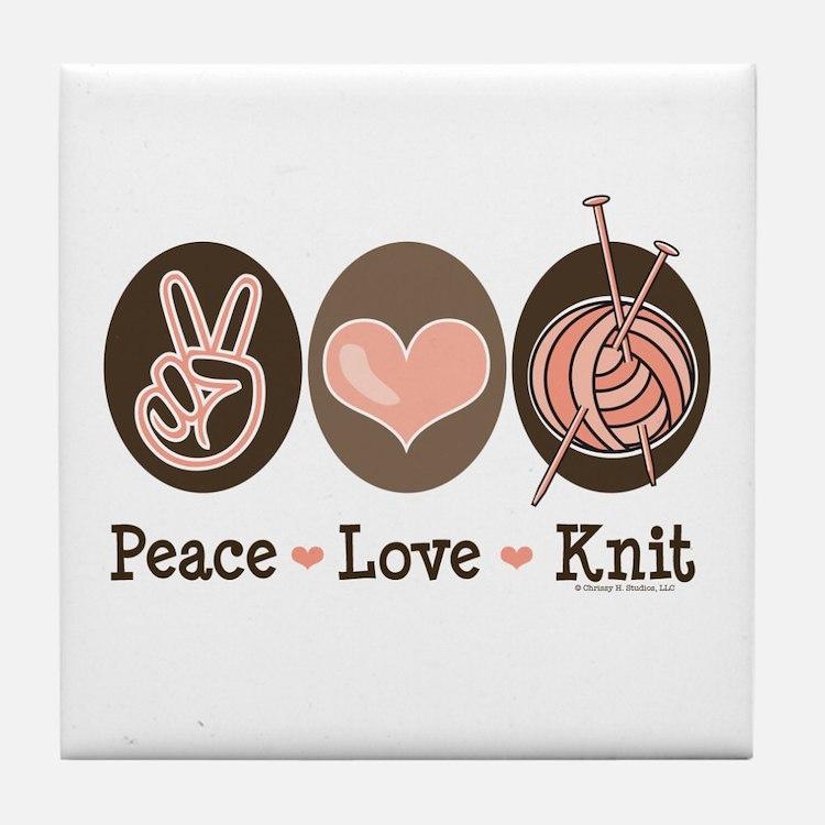 Peace Love Knit Knitting Tile Coaster