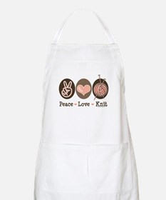 Peace Love Knit Knitting BBQ Apron