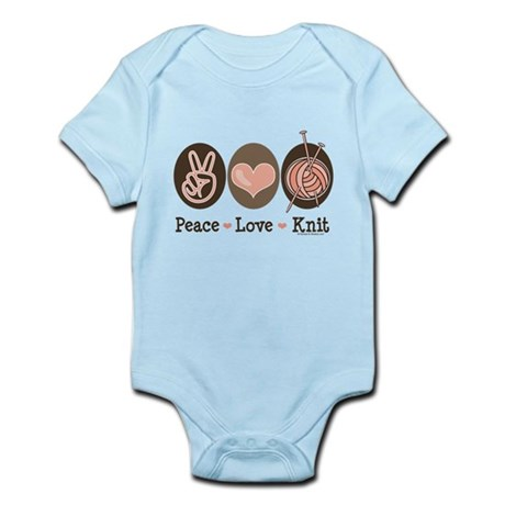 Peace Love Knit Knitting Infant Bodysuit
