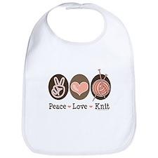 Peace Love Knit Knitting Bib