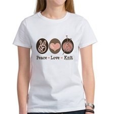 Peace Love Knit Knitting Tee
