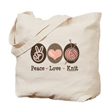 Peace Love Knit Knitting Tote Bag