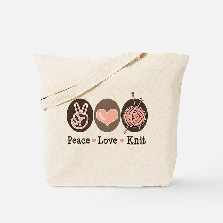 Peace Love Knit Knitting Tote Bag
