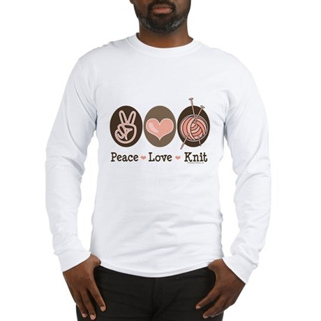 Peace Love Knit Knitting Long Sleeve T-Shirt