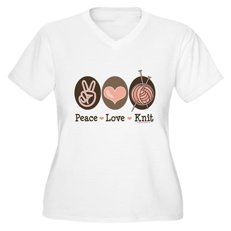 Peace Love Knit Knitting Women's Plus Size V-Neck