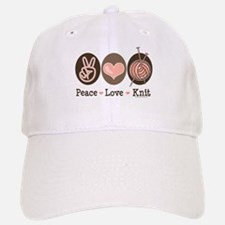 Peace Love Knit Knitting Baseball Baseball Cap