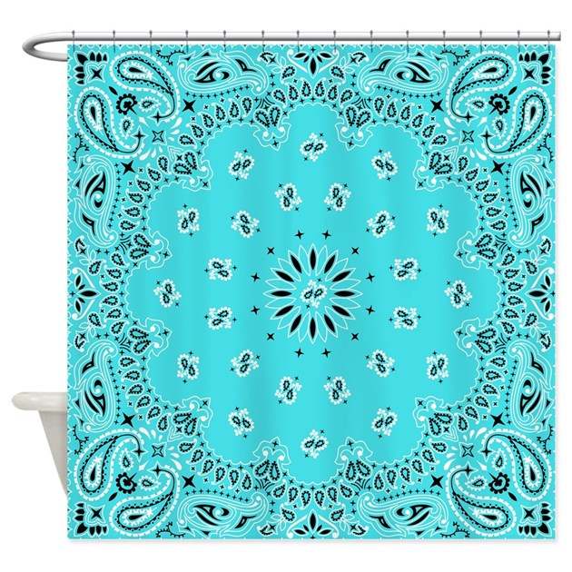 Turquoise Bandana Shower Curtain By FuzzyChair