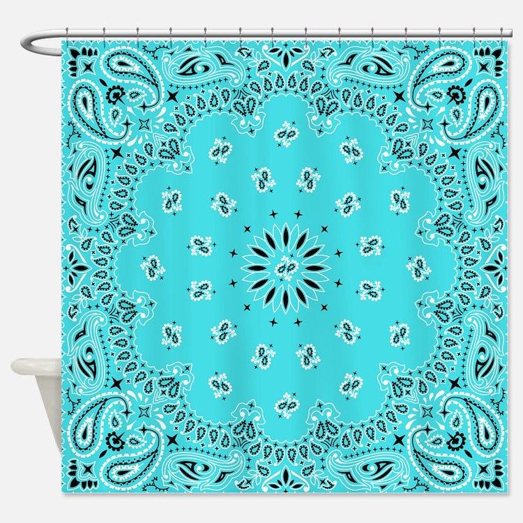 Vintage Design White Aqua Black Turquoise Retro Or Shower