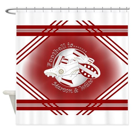 Maroon And White Football Soccer Shower Curtain