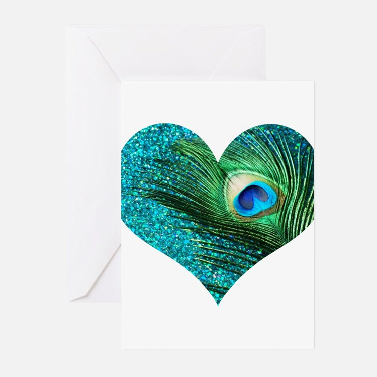 Aqua Blue Peacock Heart Greeting Cards