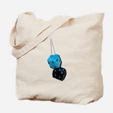 Fuzzy Black and Blue Dice Tote Bag