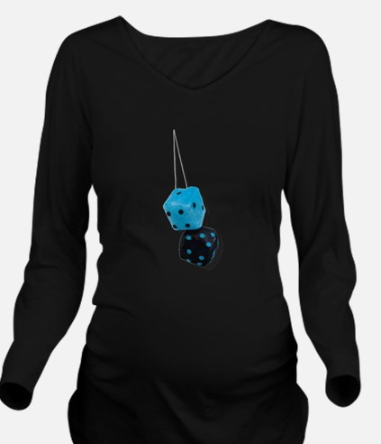 Fuzzy Black and Blue Dice Long Sleeve Maternity T-