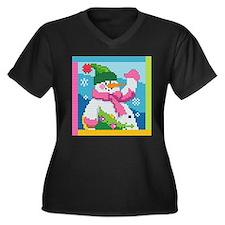 Snowman Women's Plus Size V-Neck Dark T-Shirt