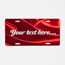 Custom Red Silk Aluminum License Plate