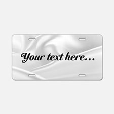 Custom White Silk Aluminum License Plate