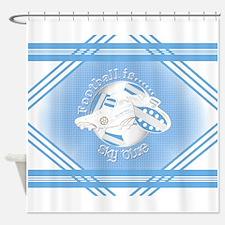 Sky Blue Football Soccer Shower Curtain