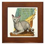 Cat (White Oriental) Framed Tile