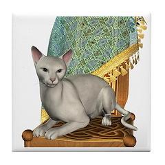 Cat (White Oriental) Tile Coaster