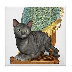 Cat (Silver Tabby) Tile Coaster