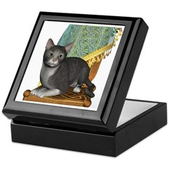 Cat (Grey White) Keepsake Box