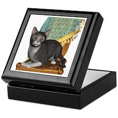 Cat (Grey White) Keepsake Box