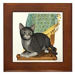 Cat (Grey White) Framed Tile