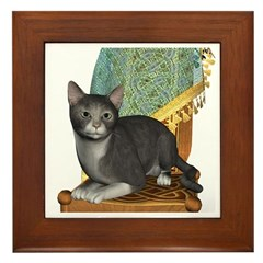 Cat (Grey White) Framed Tile