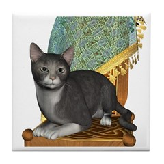 Cat (Grey White) Tile Coaster