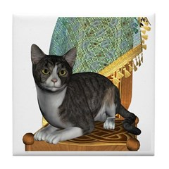 Cat (Grey Tabby) Tile Coaster