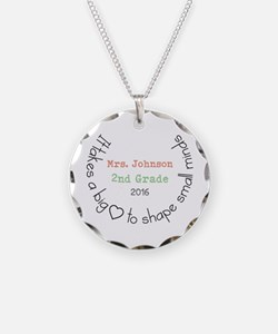 Personalized Big Hearted Teacher Necklace