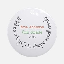 Personalized Big Hearted Teacher Round Ornament