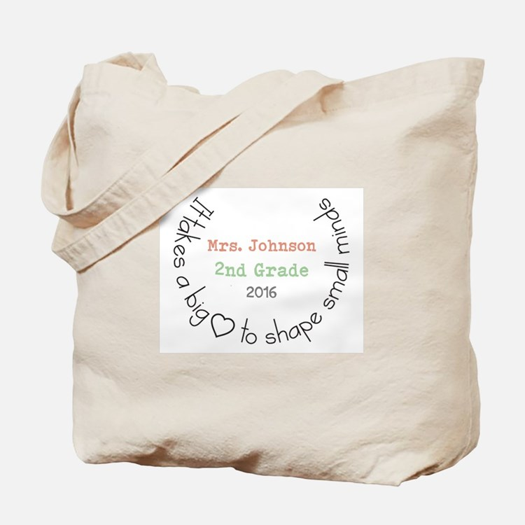 Personalized Big Hearted Teacher Tote Bag