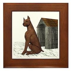 Dog (Min Pin) Framed Tile