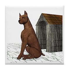 Dog (Min Pin) Tile Coaster