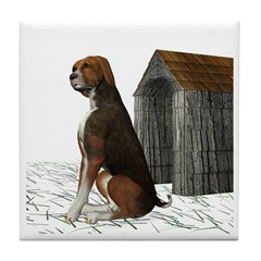 Dog (Hound Brown N Tan) Tile Coaster
