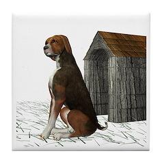Dog (Hound Brown N Tan) Tile Coaster